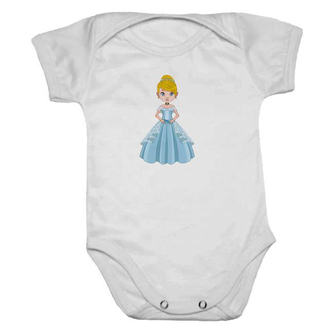 Body de Bebê Branco Manga Curta Princesa Azul