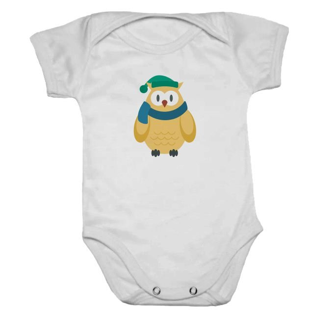 Body de Bebê Branco Manga Curta Coruja Amarela