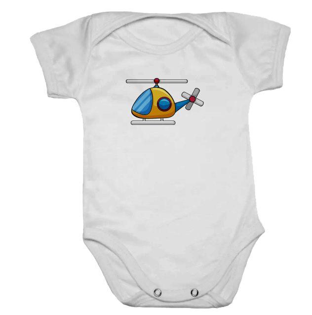Body de Bebê Branco Manga Curta Helicóptero