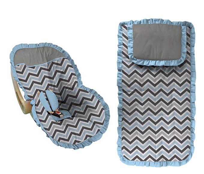 Conjunto Capa Bebê Conforto e Carrinho Chevron Azul e Cinza Babado Azul Bebê