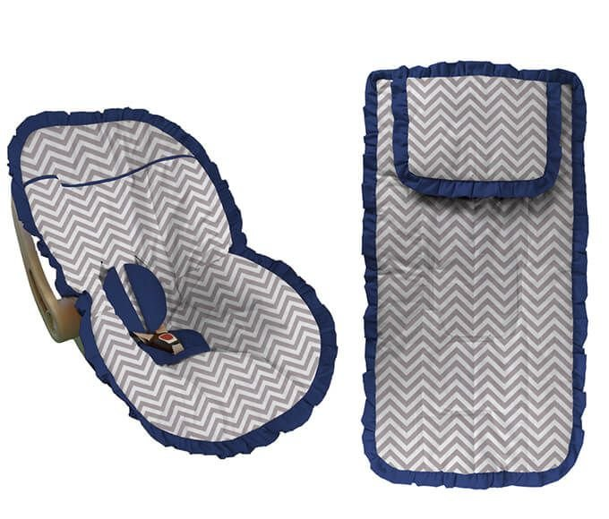 Conjunto Capa Bebê Conforto e capa carrinho chevron cinza com babado azul marinho