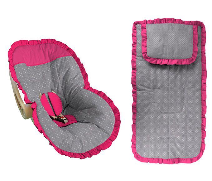 Conjunto Capa Bebê Conforto e capa carrinho Poá Cinza e Pink com babado pink