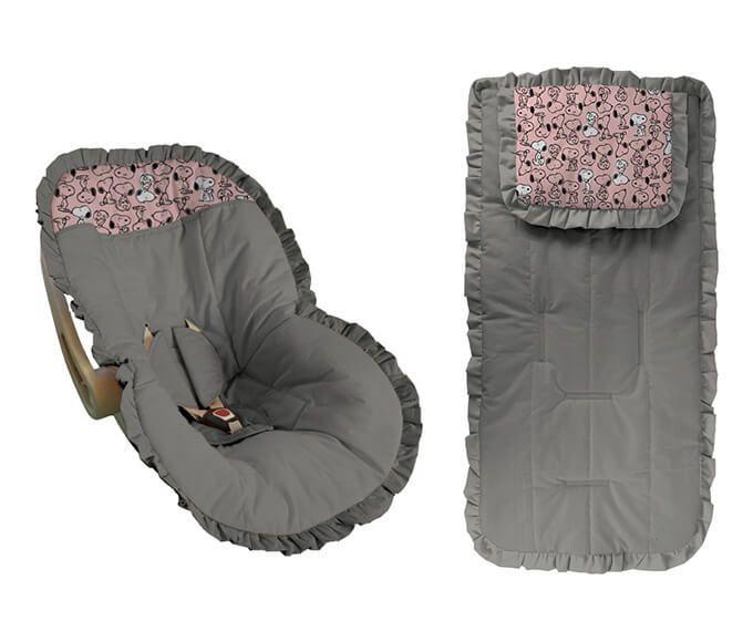 Conjunto Capa Bebê Conforto e capa carrinho Cinza detalhes snoop rosa