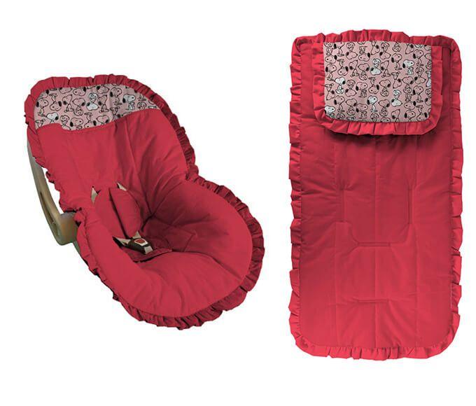 Conjunto Capa Bebê Conforto e capa carrinho Pink detalhes snoop rosa