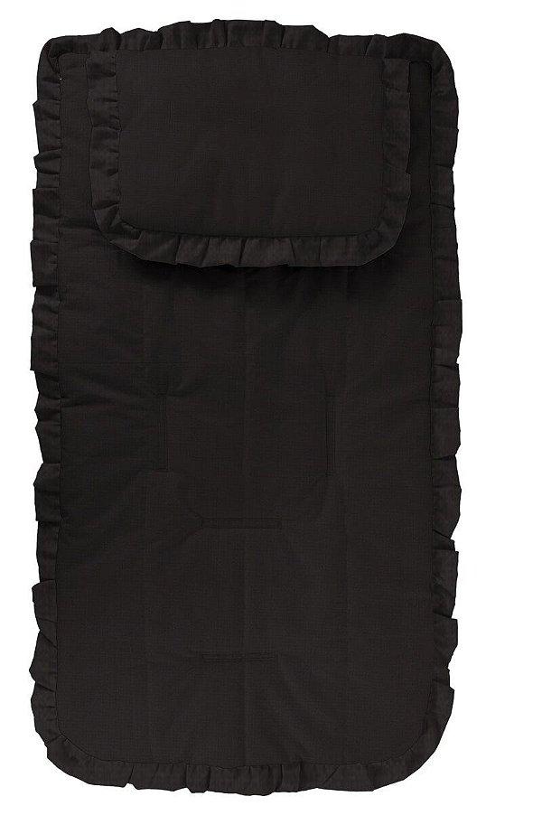 Capa Carrinho com Travesseiro Toda Preta