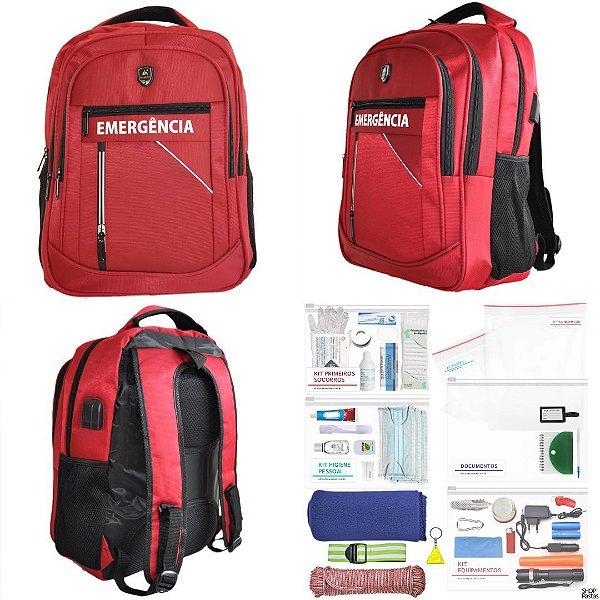 Mochila de Emergência - Conjunto Padrão USB52 - Vermelha