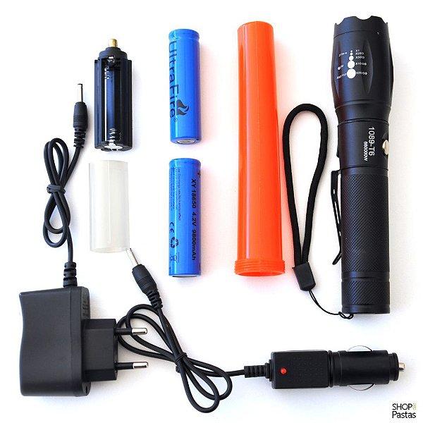 Lanterna Tática Recarregável Zoom Bastão Sinalizador SOS 1089-T06