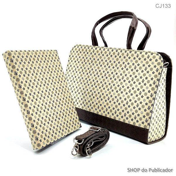 Conjunto - Bolsa e Pasta - Bag BW Bege - Cód.133