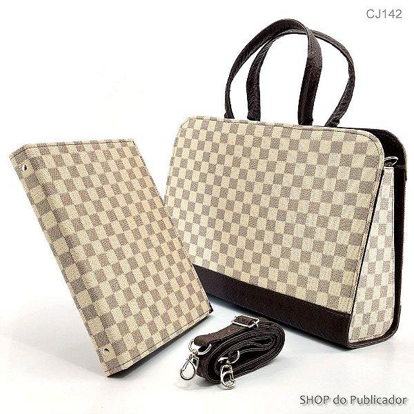 Conjunto - Bolsa e Pasta - Bag Louis Vuitton Xadrez Bege - Cód.143