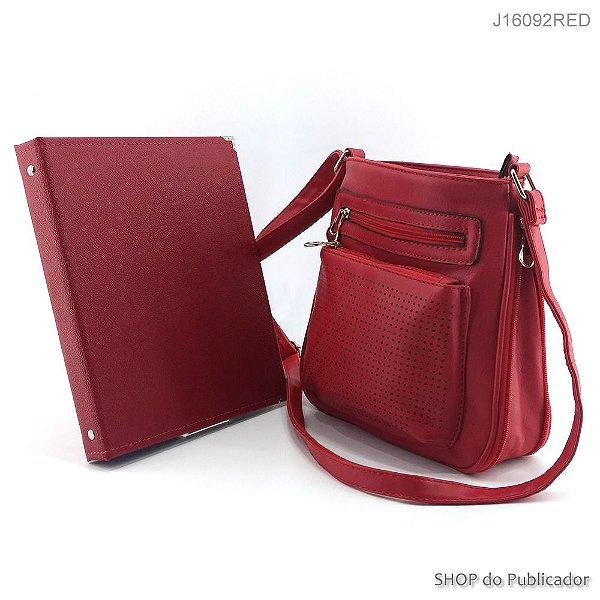 Conjunto Slight - Bolsa Tiracolo e Pasta para publicações de campo - J16092 Red