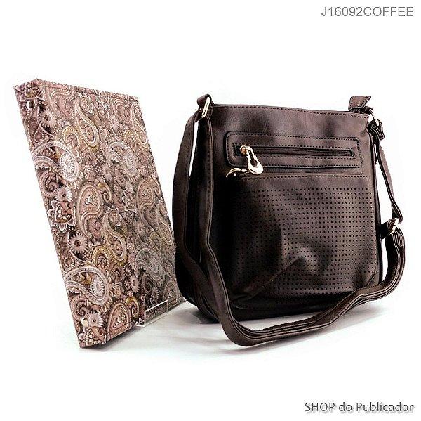 Conjunto Slight - Bolsa Tiracolo e Pasta para publicações de campo - J16092 Coffee