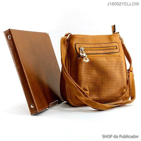 Conjunto Slight - Bolsa Tiracolo e Pasta para publicações de campo - J16092 Yellow