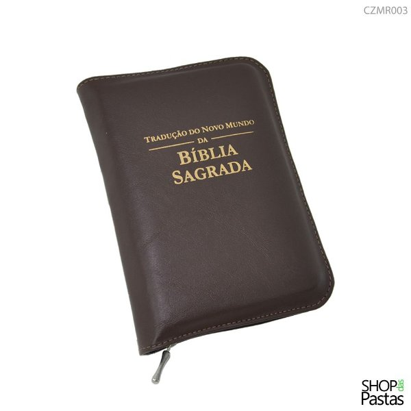 Capa para BÍBLIA de BOLSO Com Zíper e Inscrição - Marrom
