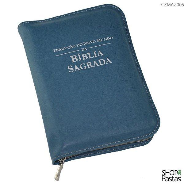 Capa para BÍBLIA MÉDIA Com Zíper e Inscrição - Azul