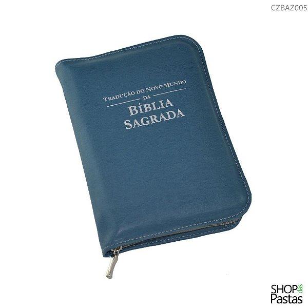 Capa para BÍBLIA de BOLSO Com Zíper e Inscrição - Azul