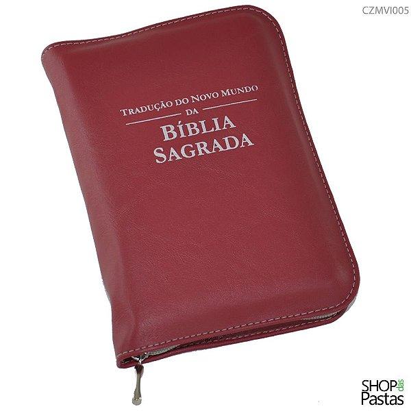Capa para BÍBLIA MÉDIA Com Zíper e Inscrição - Vinho