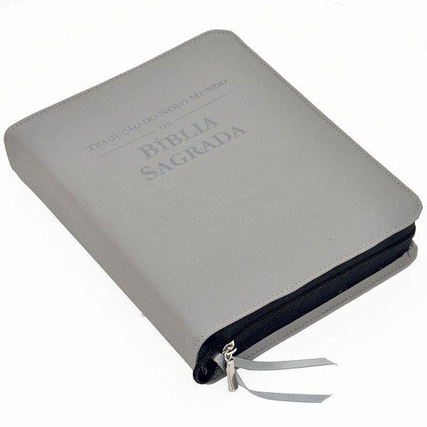 Capa para BÍBLIA GRANDE Com Zíper e Inscrição - Cinza