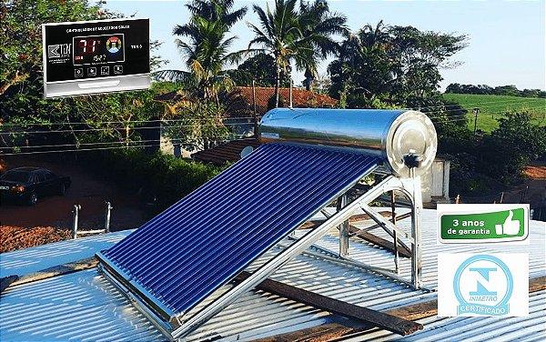 Aquecedor Solar Tubo A Vácuo - Acoplado - 200 Litros C/ Controlar Eletrônico