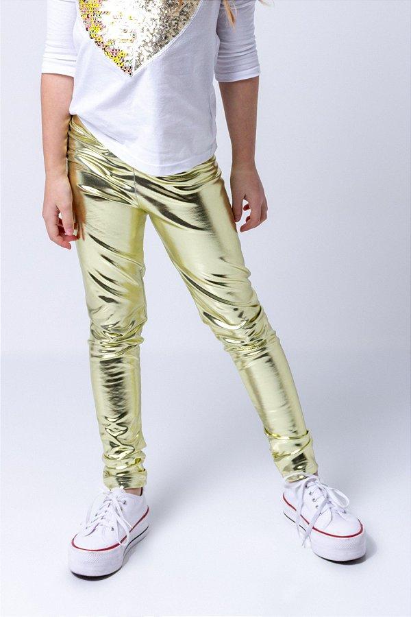 Legging Infantil Holográfica Dourada