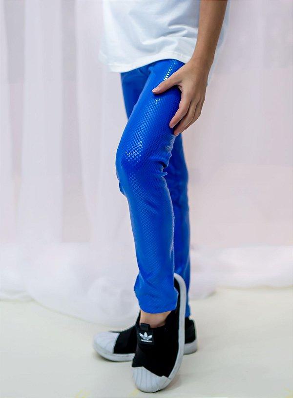 Legging Infantil Azul Com Acabamento Acetinado