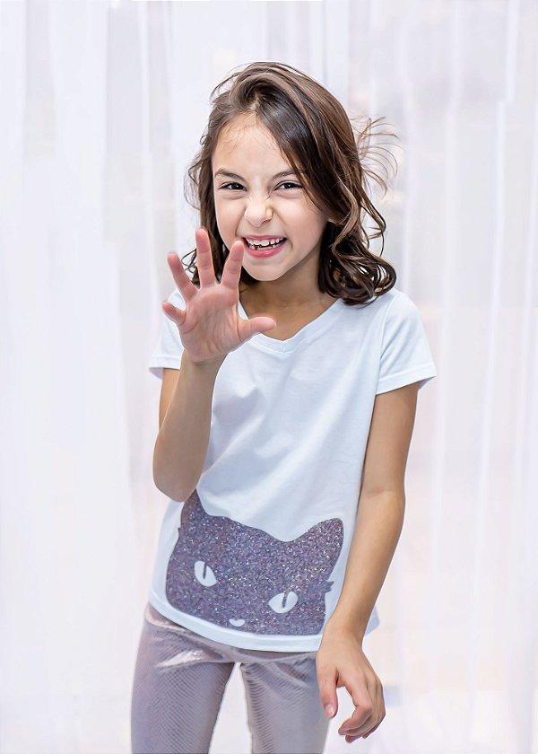 T-shirt Infantil Gato Com Brilho