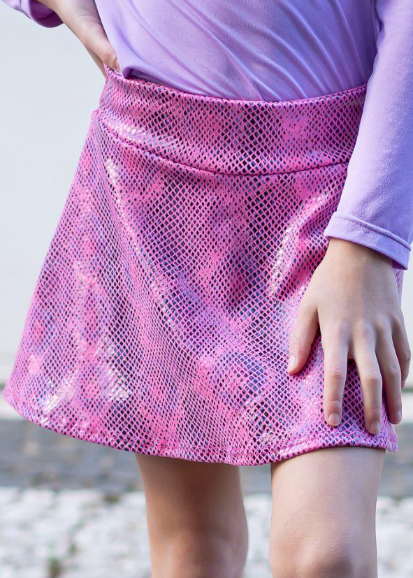 Shorts Saia Infantil Rosa Python