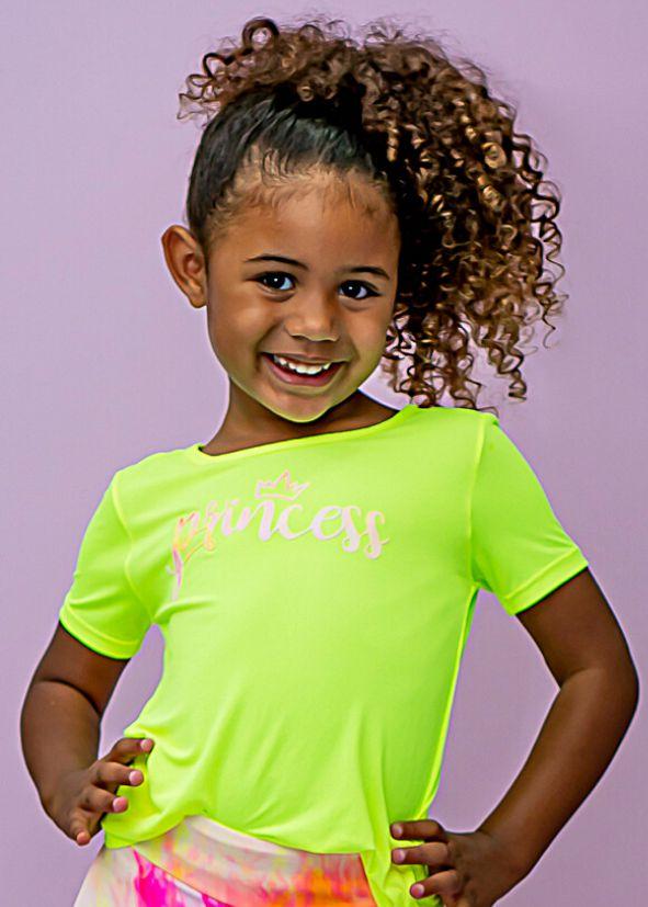 T-shirt Infantil Em Crepe Amarelo Neon Aplicação Princess Splash