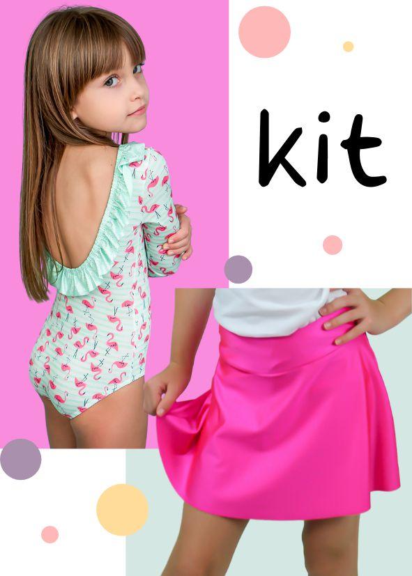 Kit Especial Dia das Crianças Body + Shorts Saia