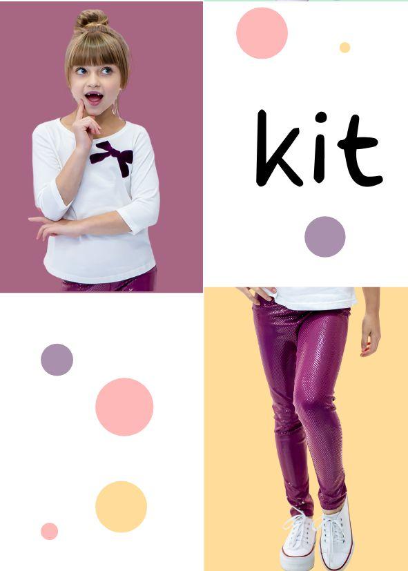 Kit Especial Dia das Crianças Legging Brilhante + T-shirt Laço