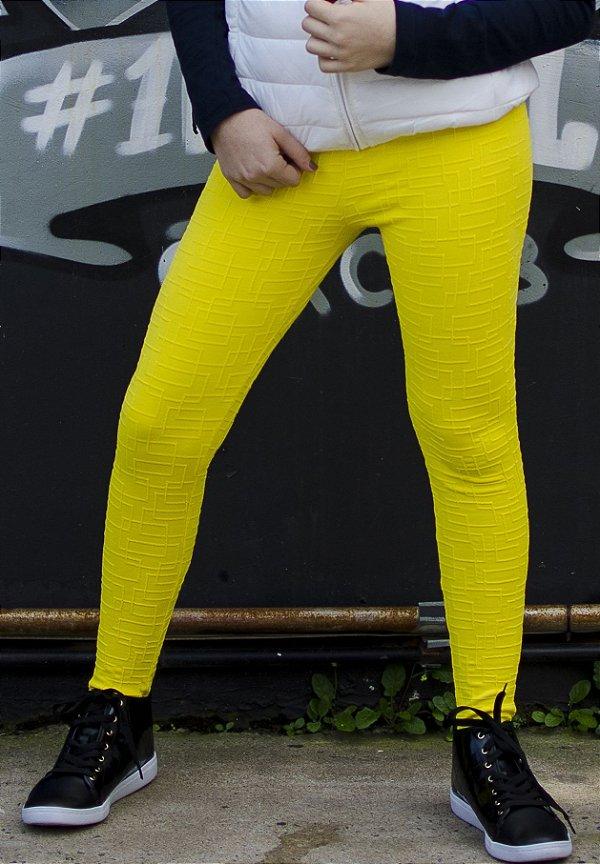 Legging Infantil Amarelo Tecido Trabalhado