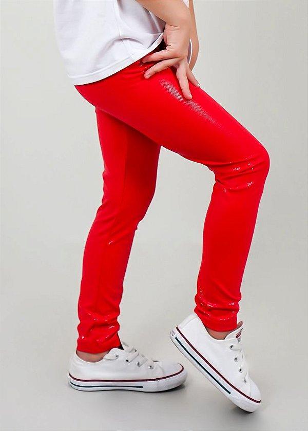 Legging Infantil Vermelha Efeito Molhado Brilhante