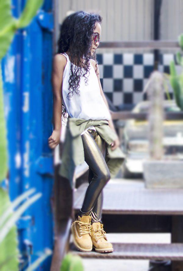 Legging Infantil Dourada Preta Brilhante