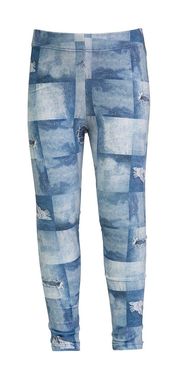 Legging Infantil Estampa Jeans Quadros