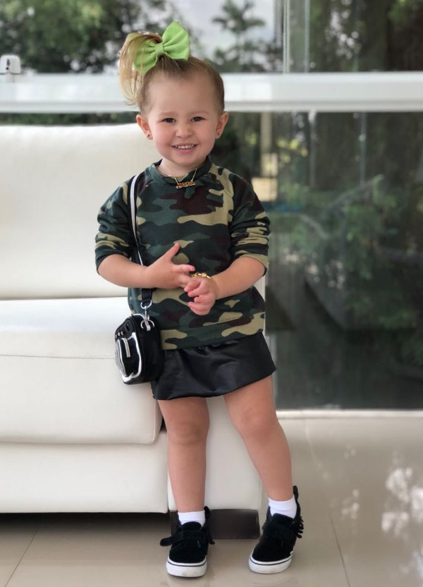 Shorts Saia Couro Preta Baby