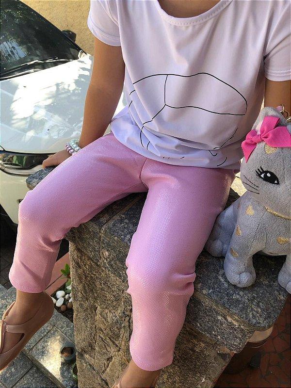 Legging Infantil Rosa Bebê Efeito Molhado Brilhante