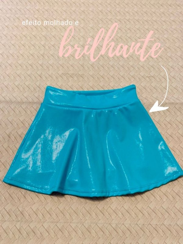 Shorts Saia Azul Celeste Brilhante