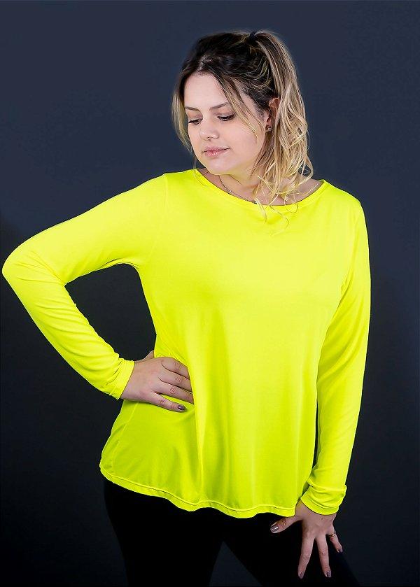 T-shirt Adulto Crepe Amarelo/Verde Neon Manga Longa
