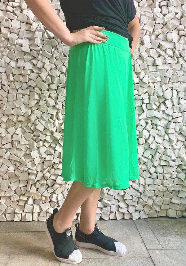 Saia Shorts Midi Verde Neon Claro Crepe Adulto