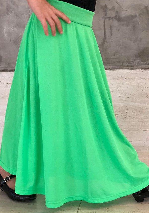 Saia Shorts Midi Verde Neon Claro Crepe Infantil