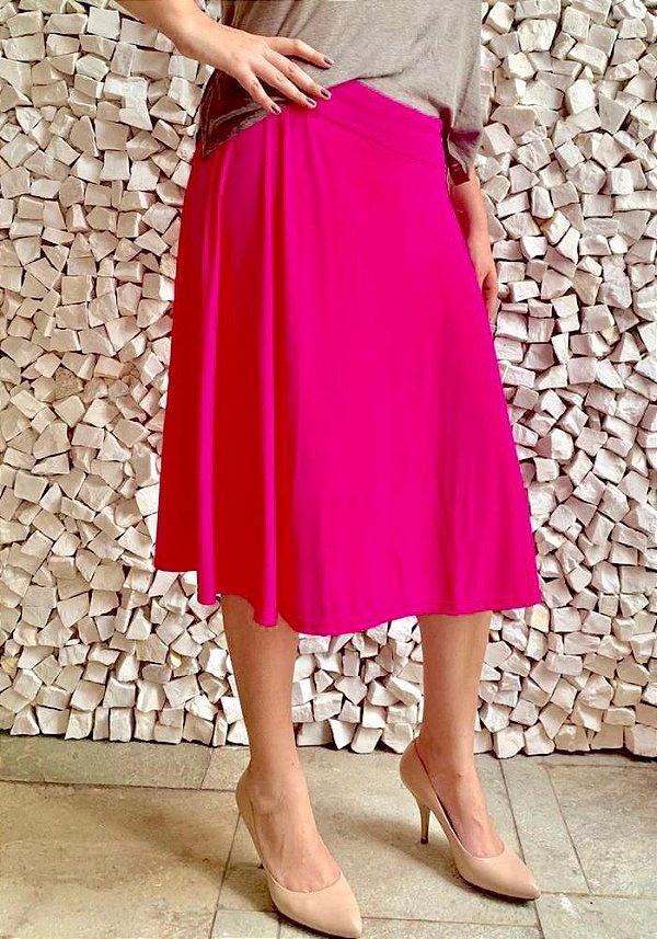 Saia Shorts Midi Rosa Pink Crepe Adulto