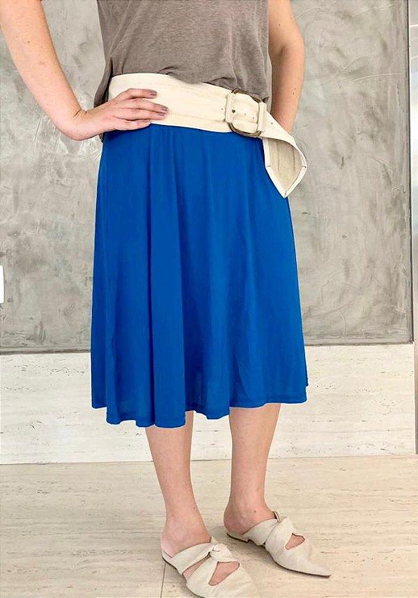 Saia Shorts Midi Azul Liso Crepe Adulto