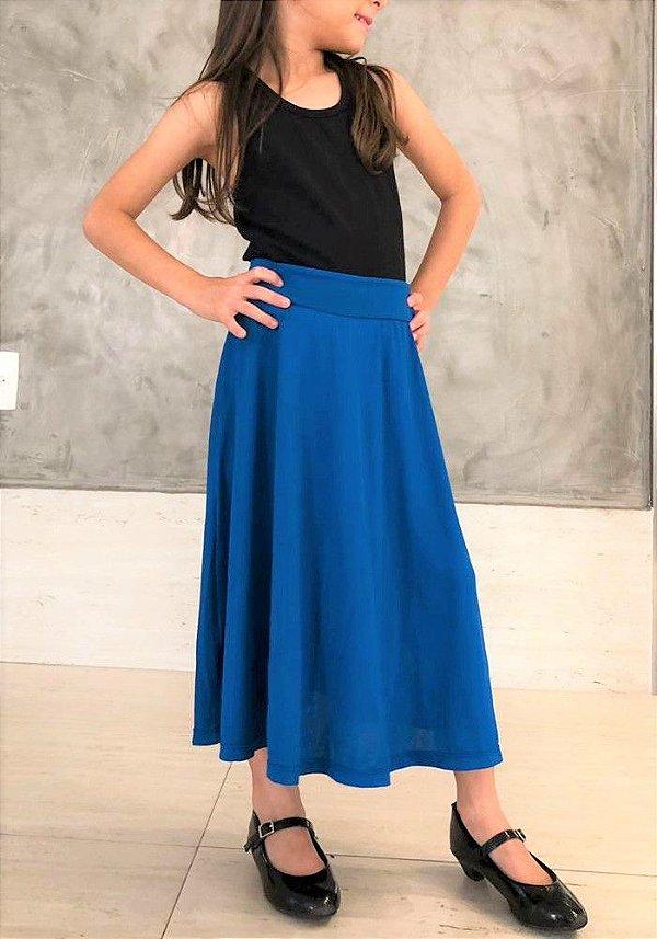 Saia Shorts Midi Azul Liso Crepe Infantil