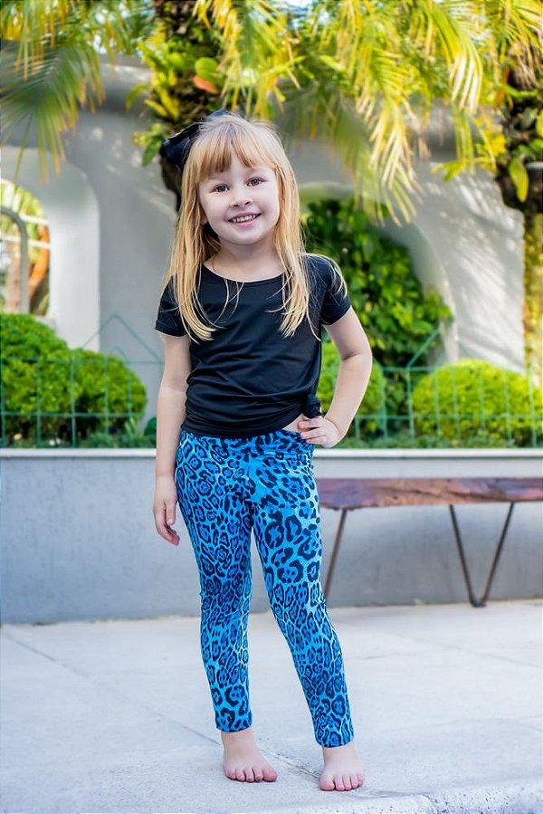 Legging Infantil Estampa Onça Azul