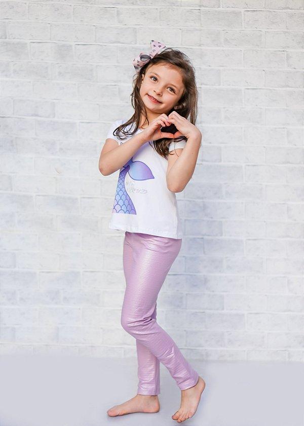 Legging Infantil Escamas Lavanda