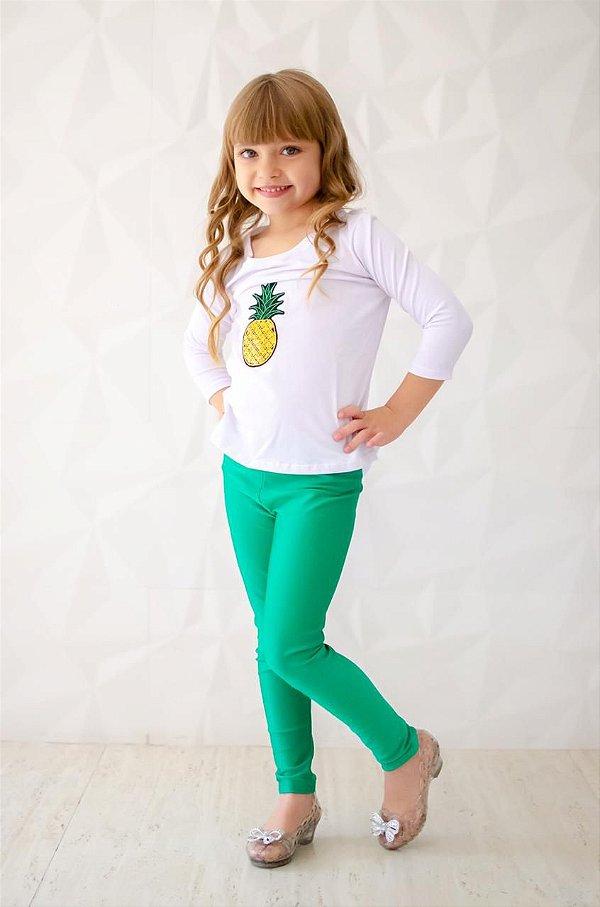 Legging Infantil Verde Brilhante Cirré