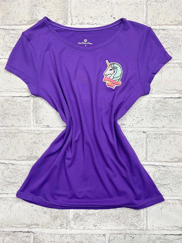 T-shirt Infantil Crepe Lavanda Com Aplicação Unicórnio