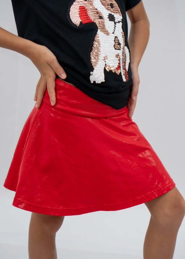 Shorts Saia Vermelho Com Brilho Efeito Molhado