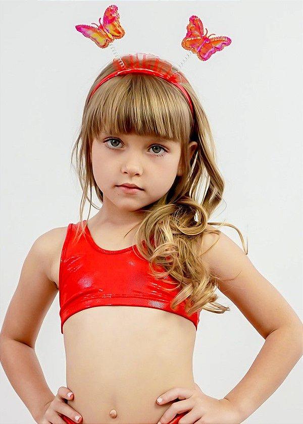 Top Infantil Vermelho Com Brilho Efeito Molhado