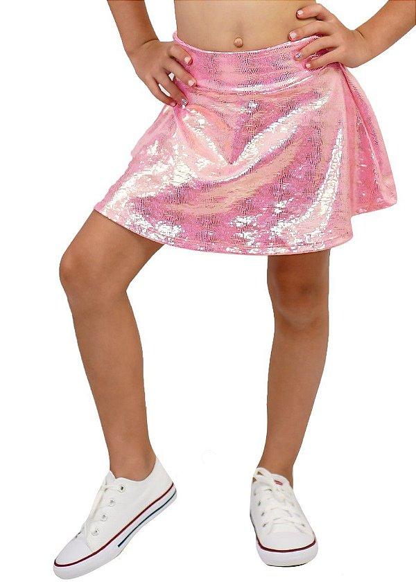 Shorts Saia Infantil Brilho Dourado Barbie