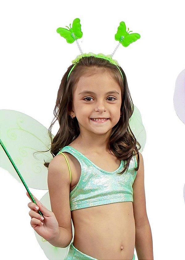 Top Infantil Verde Espelho Cobra Com Brilho Furta Cor